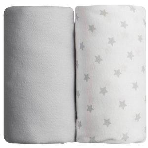 Lot de 2 draps housse 70 x 140 cm étoiles grises