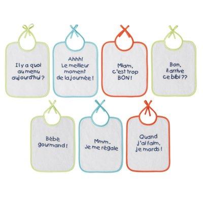 Lot de 7 bavoirs naissance message Babycalin