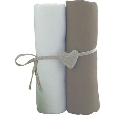 Lot de 2 draps housse 60x120cm blanc et taupe Babycalin