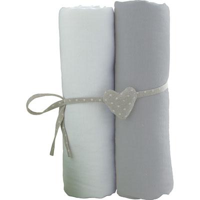 Lot de 2 draps housse 60x120cm blanc et gris Babycalin