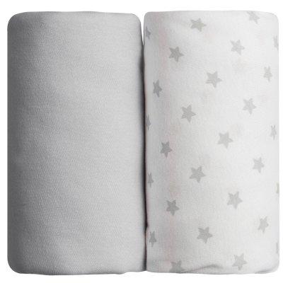 Lot de 2 draps housse 70 x 140 cm étoiles grises Babycalin