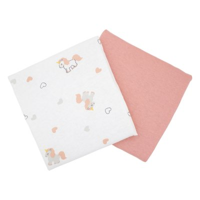 Lot de 2 draps housse 70x140cm licorne / rose Babycalin