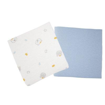 Lot de 2 draps housse 70x140cm ours / bleu Babycalin