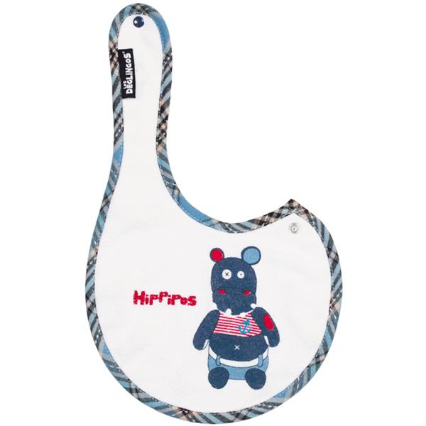 Lot de 2 bavoirs naissance brodés l'hippopotame hippipos Les deglingos