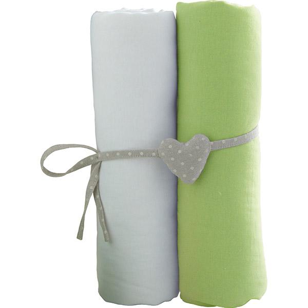Lot de 2 draps housse 60x120cm blanc et vert anis Babycalin