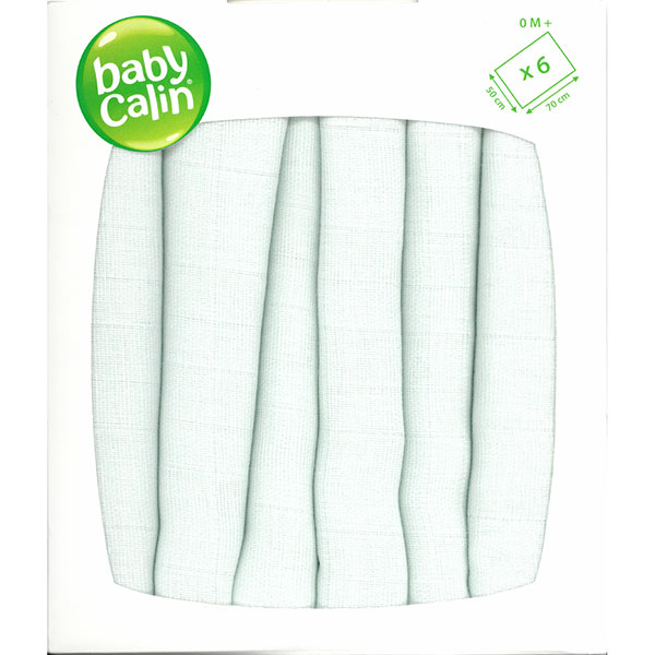 Lot de 6 langes carré douceur Babycalin
