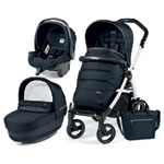 Pack poussette trio book 51 s black/white pop up completo luxe blue night