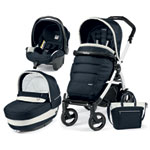 Pack poussette trio book 51 s black/white pop up completo luxe blue