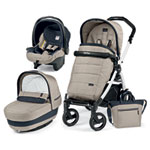 Pack poussette trio book 51 s black/white pop up completo luxe beige