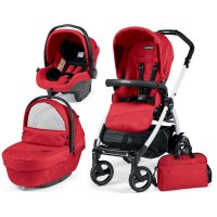 Poussette combiné trio book 51 s black/ white pop up sportivo géo red