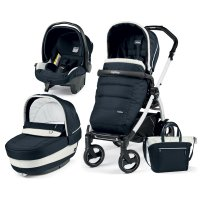 Poussette combiné trio book 51 s black/ white pop up completo luxe blue