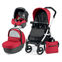 Pack poussette trio book 51 s black/white pop up sportivo bloom red