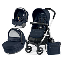 Poussette combiné trio book 51 s black/white pop up sportivo bloom navy