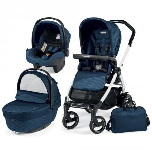 Poussette combiné trio book 51 s black/ white pop up sportivo géo navy
