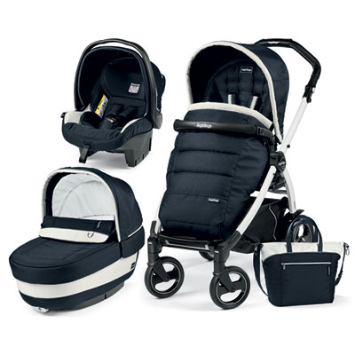 Pack poussette trio book 51 s black/white pop up completo luxe blue Peg perego