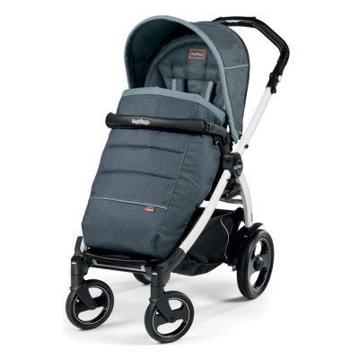 Pack poussette trio book 51 s black/white pop up completo luxe blue denim Peg perego
