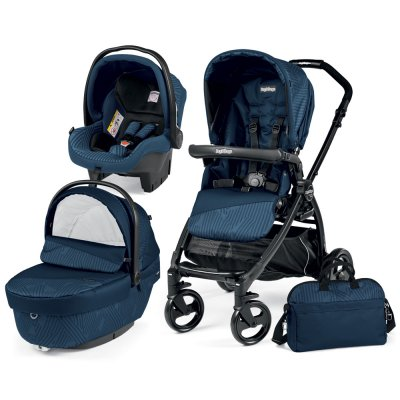 Pack poussette trio book plus pop up sportivo geo navy Peg perego
