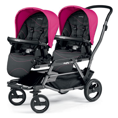 Poussette double duette piroet pop up bloom pink Peg perego