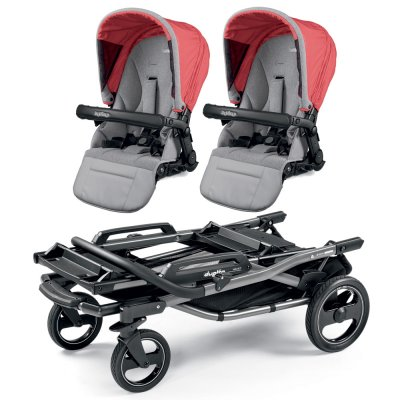 Poussette double duette piroet pop up completo breeze corail Peg perego