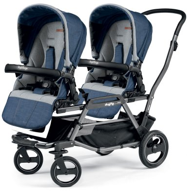 Poussette double duette piroet pop up completo urban denim Peg perego