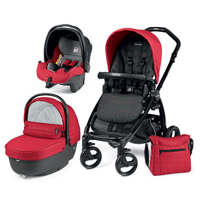 Pack poussette trio book plus pop up sportivo bloom red Peg perego