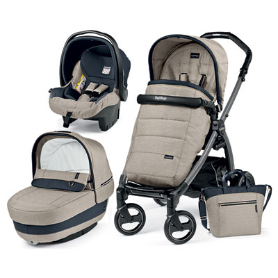 Pack poussette trio book s jet pop up completo luxe beige Peg perego