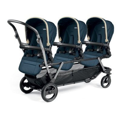 Poussette triple piroet pop up completo breeze blue Peg perego