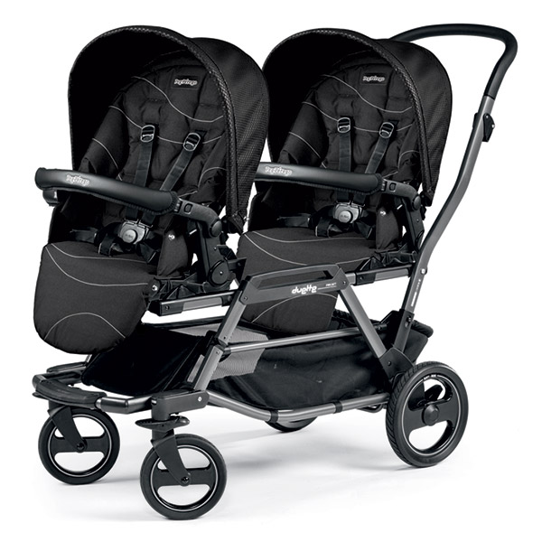 Poussette double duette piroet pop up bloom black Peg perego