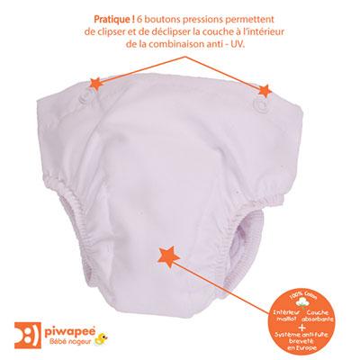 Couche lavable clipsable pour combinaison maillot de bain couche et short swim+ 6-12 mois Piwapee