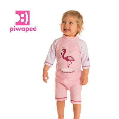 Combinaison de bain couche clipsable intégrée flamingo 6-12 mois Piwapee