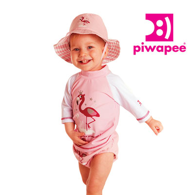 Tee-shirt anti-uv flamingo 6-12 mois Piwapee