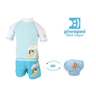 Tee-shirt anti-uv pingouin bleu 3-6mois Piwapee