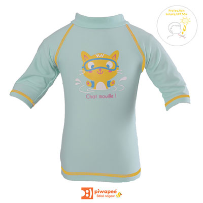Tee-shirt de bain anti-uv chaton 6-12 mois Piwapee