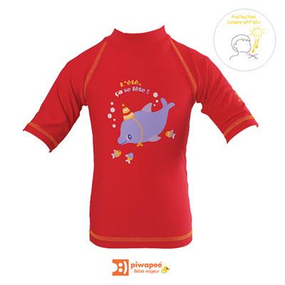 Tee-shirt de bain anti-uv dauphin 6-12 mois Piwapee