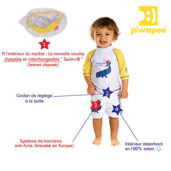 Maillot de bain couche short cachalot 8-11 kg Piwapee