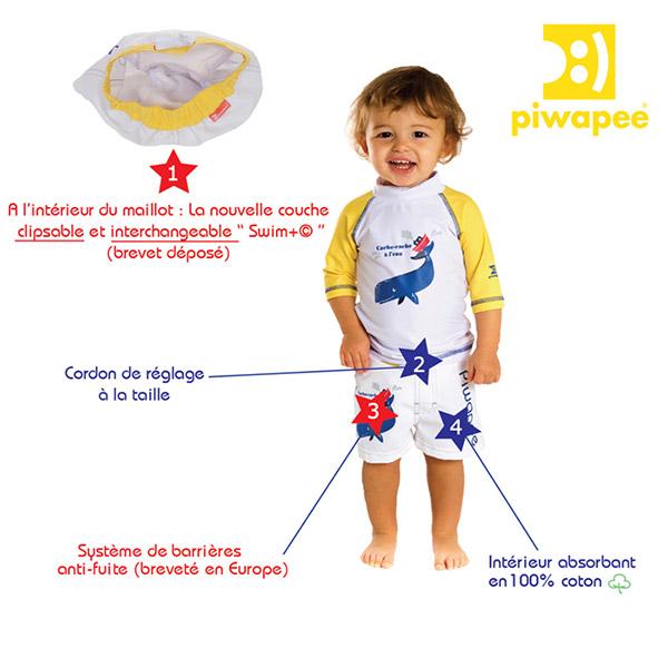 Maillot de bain couche short cachalot 14-17 kg Piwapee