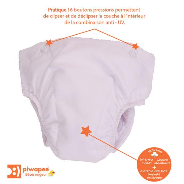 Combinaison de bain bebe avec couche clipsable intégrée rainette 6-12 mois Piwapee