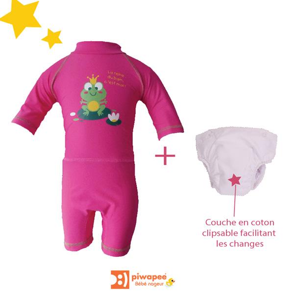 Combinaison de bain bebe avec couche clipsable intégrée rainette 24-36 mois Piwapee