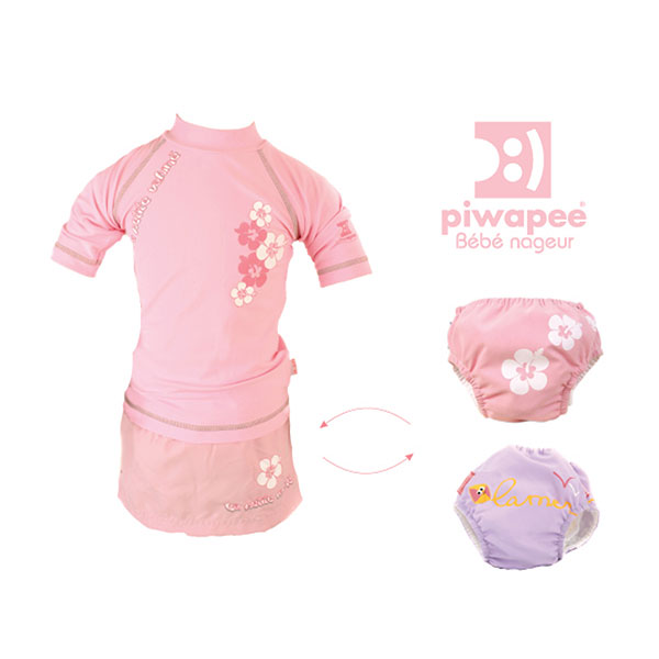 Tee-shirt anti-uv la petite vahinee rose 6-12mois Piwapee