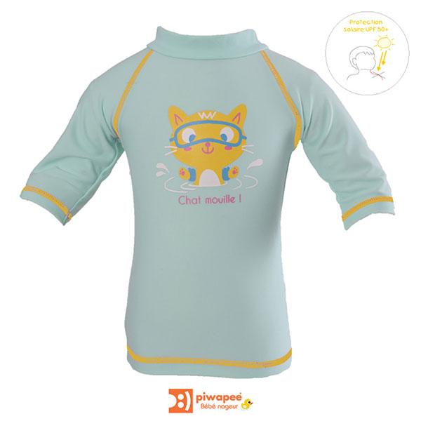 Tee-shirt anti-uv chaton 6-12 mois Piwapee