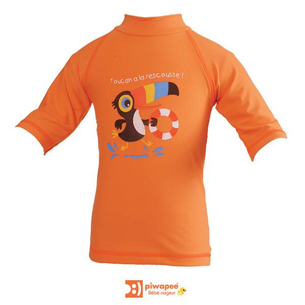 Tee-shirt anti-uv toucan 3-6 mois Piwapee