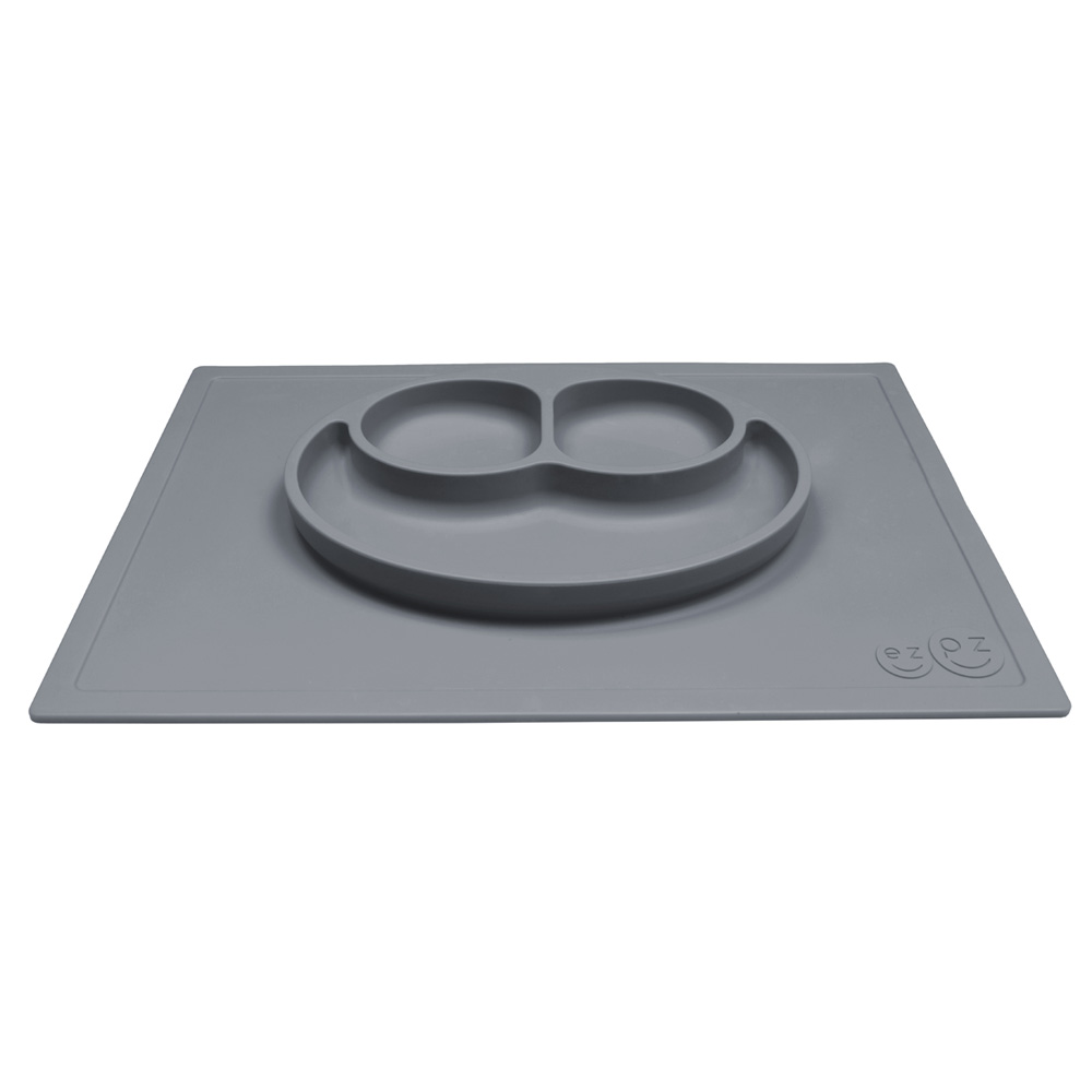 Assiette et set de table tout en un happy mat gris de ezpz for Un set de table