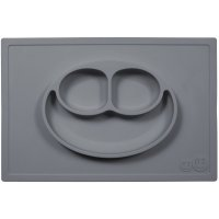 Assiette et set de table tout-en-un happy mat gris