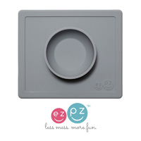Bol avec set de table tout-en-un happy bowl gris