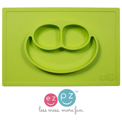 Assiette et set de table tout-en-un happy mat vert Ezpz