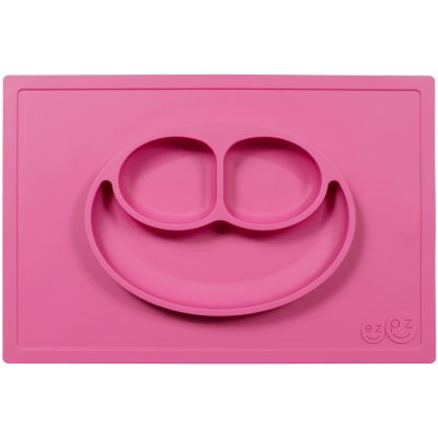Assiette et set de table tout-en-un happy mat rose Ezpz