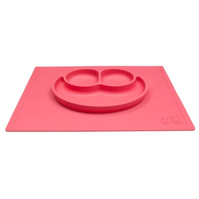 Assiette et set de table tout-en-un happy mat corail Ezpz