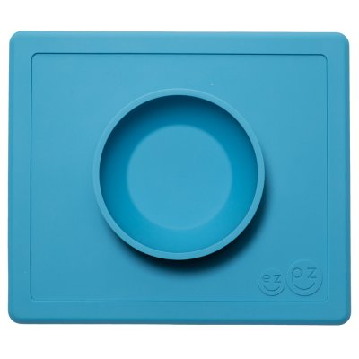 Bol avec set de table tout-en-un happy bowl bleu Ezpz