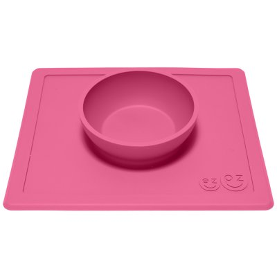 Bol avec set de table tout-en-un happy bowl rose Ezpz