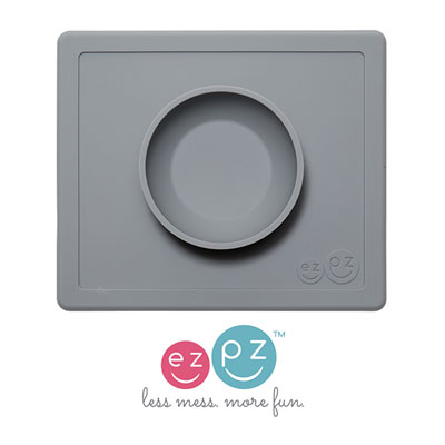 Bol avec set de table tout-en-un happy bowl gris Ezpz